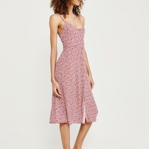 Abercrombie Small Tall Button Up Midi Dress Red